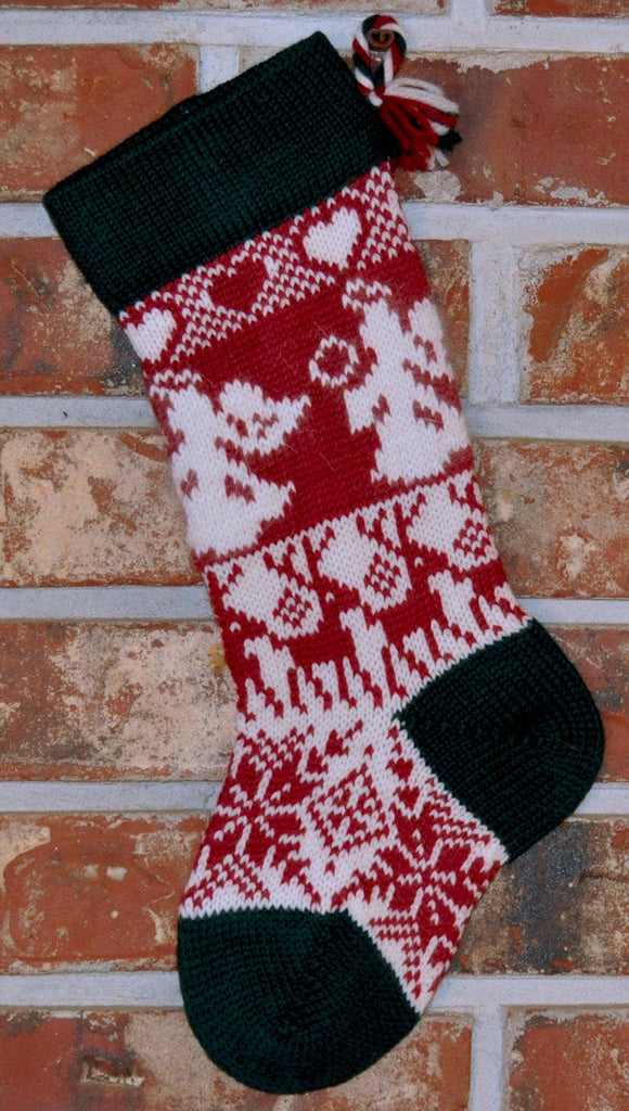 Small Knit Wool Christmas Stocking - Angels and Reindeer