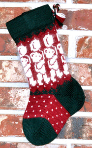 Small Knit Wool Christmas Stocking - Angora Teddy Bears with Balloons