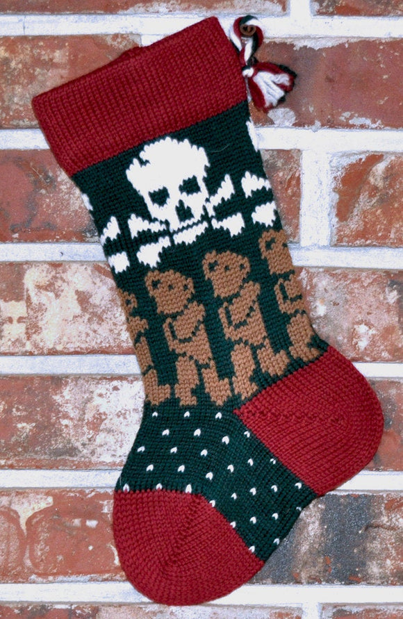 Small Knit Wool Christmas Stocking - Skulls with Brown Teddy Bears