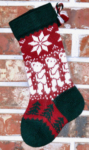 Small Knit Wool Christmas Stocking - Angora Teddy Bears with Green Trim