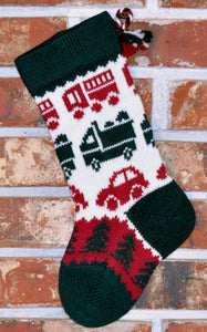 Small Knit Wool Christmas Stocking - Cars and Trucks