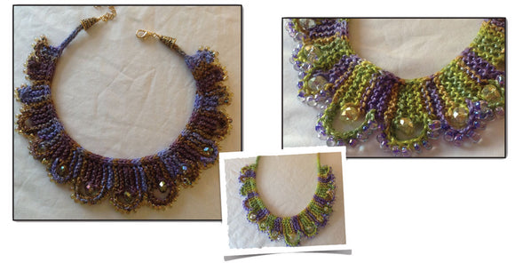 Hand Knit Jewelry Patterns - Lacy Loops Necklace