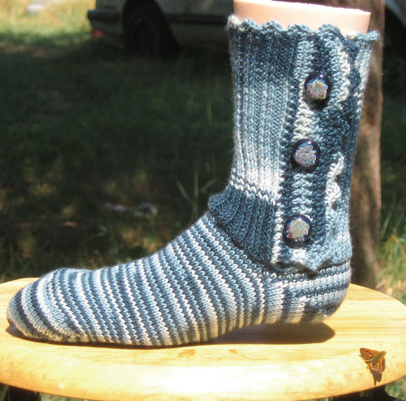 Hand Knit Sock Pattern - Button Up Sock Pattern with Circular Needles