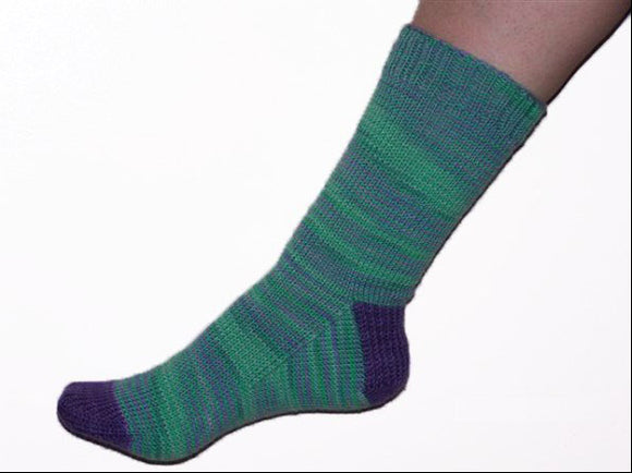 Hand Knit Sock Pattern - Basic Sock with Contrasting Heel and Toe