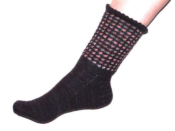 Hand Knit Sock Pattern - Slipstitch Window Sock with Picot Edge