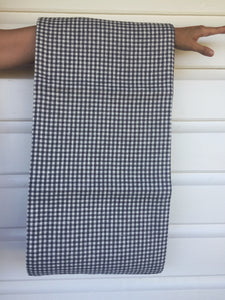 Grey and White Check Linen Tablecloth