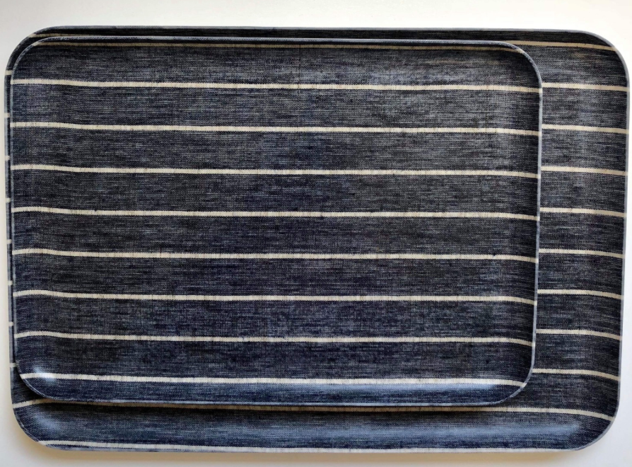Navy Wide Stripe Tray - Medium