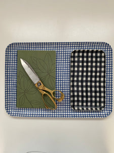 Navy and White Checked Linen Tray - Small