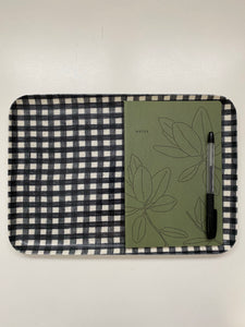 Navy and White Checked Linen Tray - Medium