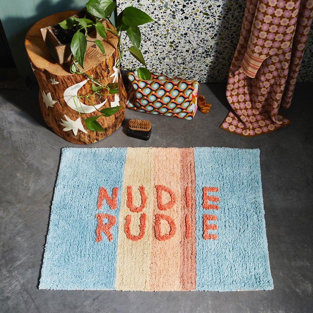 Nudie Rudie Bath Mat - Powder Blue Stripe