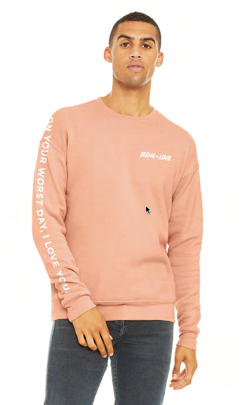 Jesus = Love Peach Sweatshirt