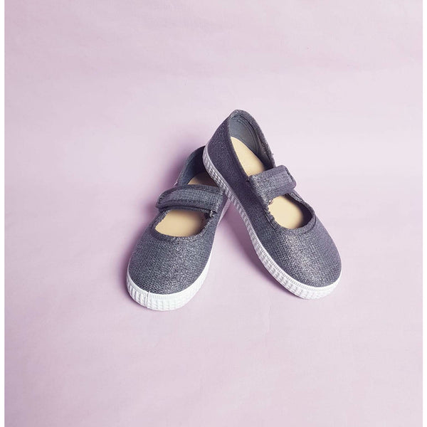 Natural World Ballerinas  Mercedes light grey Glitter - Schritt für Schritt