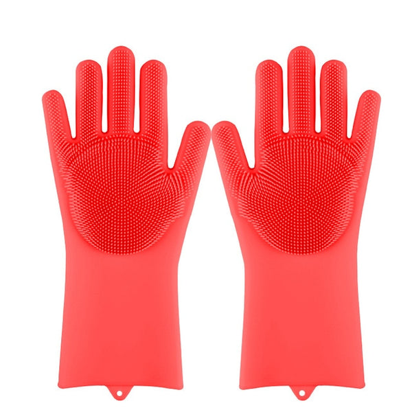 Magic Silicone Dishwashing Scrubber Dish Washing Sponge Rubber Scrub Gloves Kitchen Cleaning 1 Pair