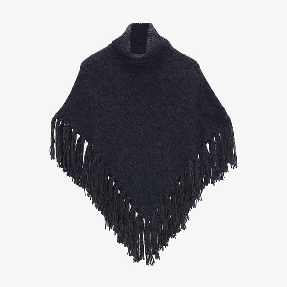 Turtleneck Fringe Poncho
