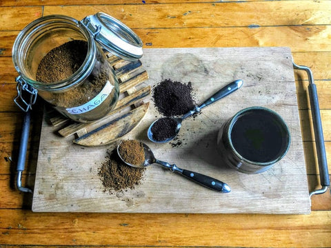 coffee grounds and powders