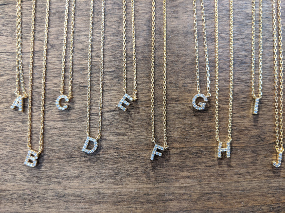 Rhinestone Initial Necklace