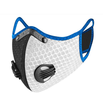 PUUURE Carbon Sport Adult Face Mask (White/Blue Limited Edition)