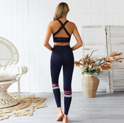 PUUURE Womens 2pc Yoga Suit (Blue/White/Red)