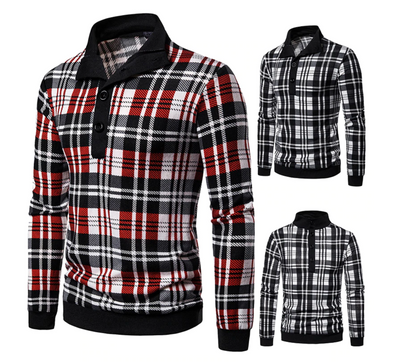 Mens Knitted Plaid Pullover