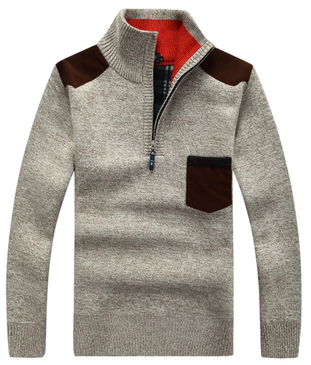 Mens Half-Zip Pullover Knitted Sweater