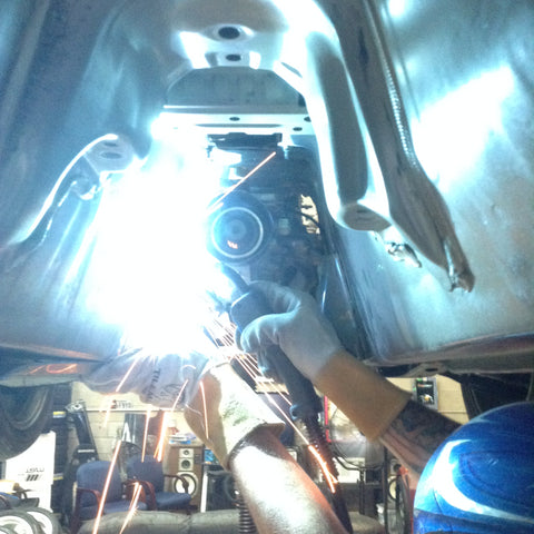 Welding mounts on the FRS transmissions tunnel for the R154 gearbox