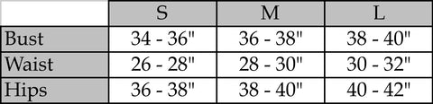 Modal Tees Size Chart