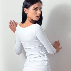 White 3/4 Sleeve Boat Neck Top - Back