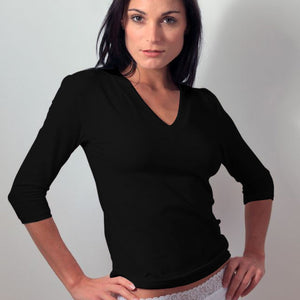 Black 3/4 Sleeve V Neck Layering Top