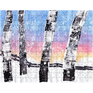 Birch Trees In Snow Puzzle
