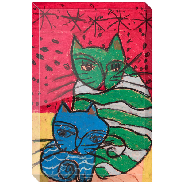 Green Cat Blue Cat Acrylic Block