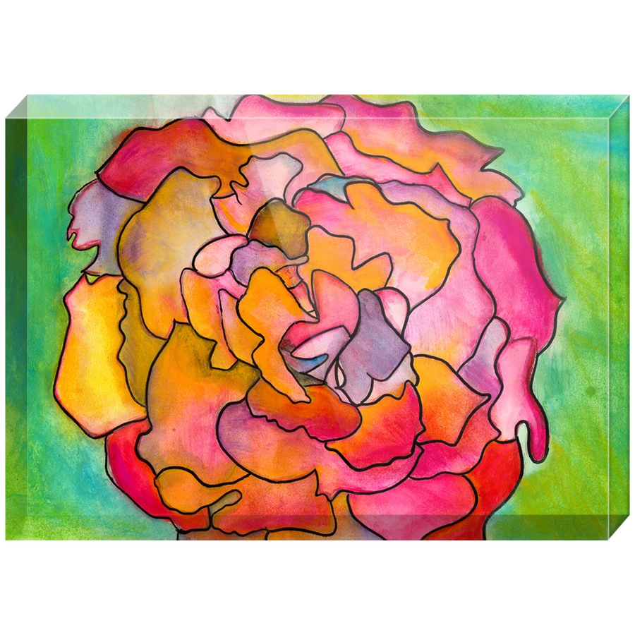 Pink & Green Flower Acrylic Block