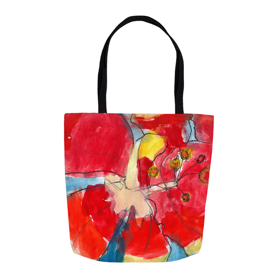Red & Yellow Waterlily Tote
