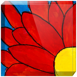Big Red Flower Acrylic Block
