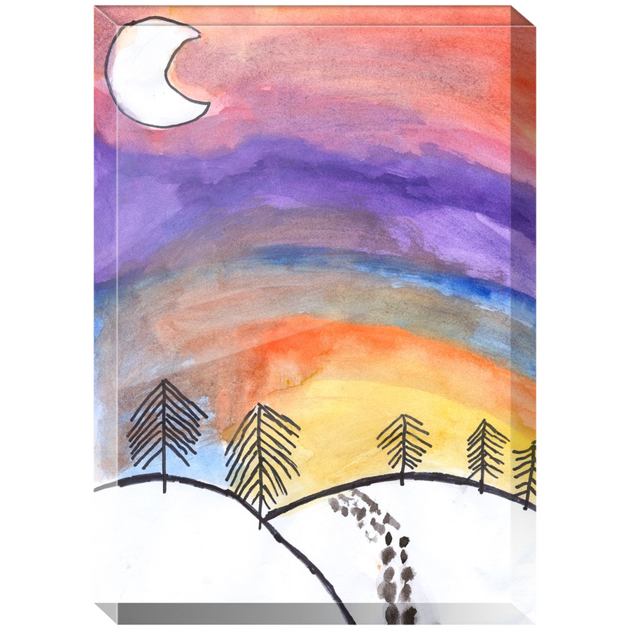 Snowy Sunset Acrylic Block