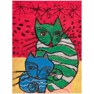 Green Cat Blue Cat Acrylic Print