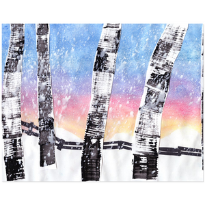 Birch Trees In Snow Acrylic Print
