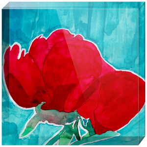 Red Flower Acrylic Block