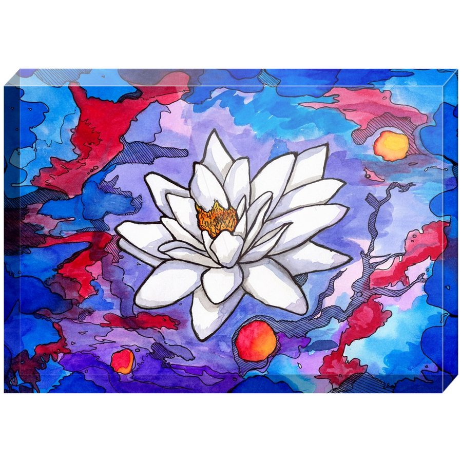 White Lotus Acrylic Block