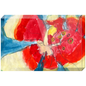 Red & Yellow Waterlily Acrylic Block
