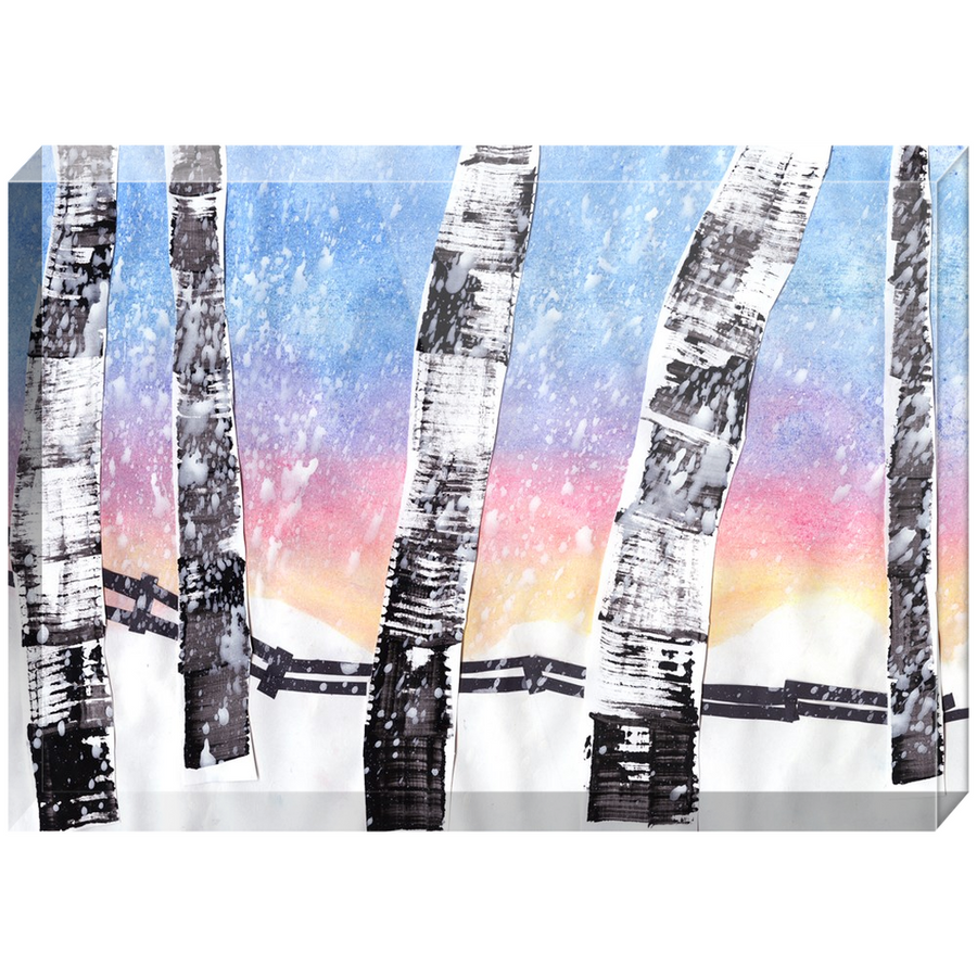 Birch Trees In Snow Acrylic Block