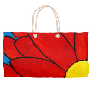 Big Red Flower Weekender Tote