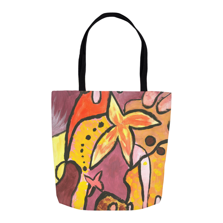 Orange Flower Tote