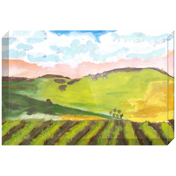 Green Hillside Acrylic Block