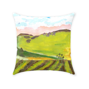 Green Hillside Throw Pillow