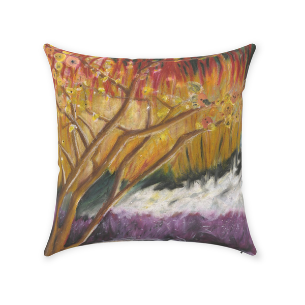 Red and Purple Tree Throw Pillow