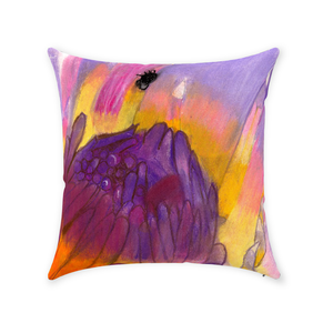 Lavender Waterlily Throw Pillow