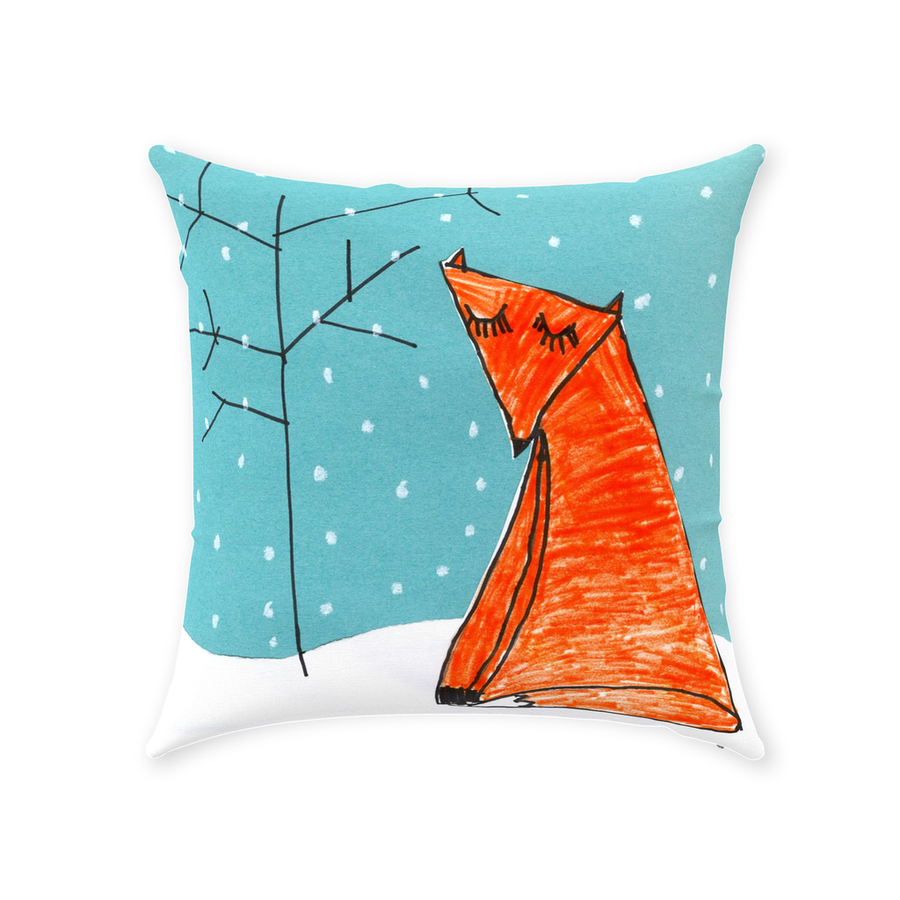 Snowy Fox Throw Pillow