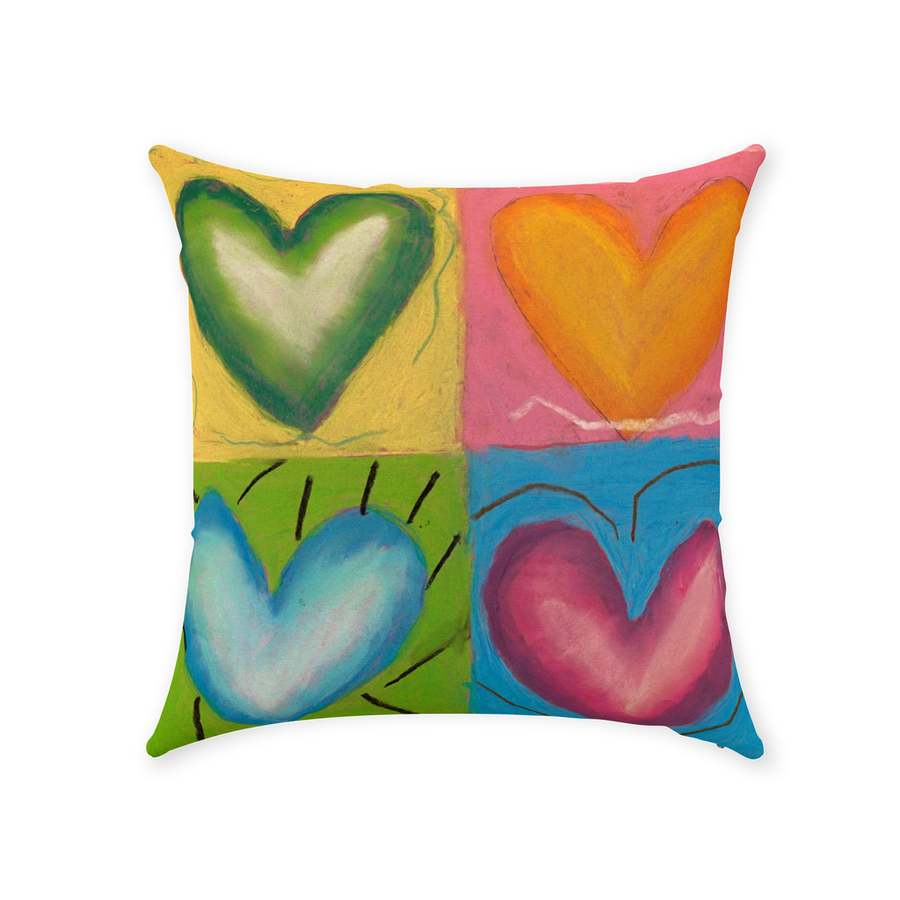 Joyous Hearts Throw Pillow