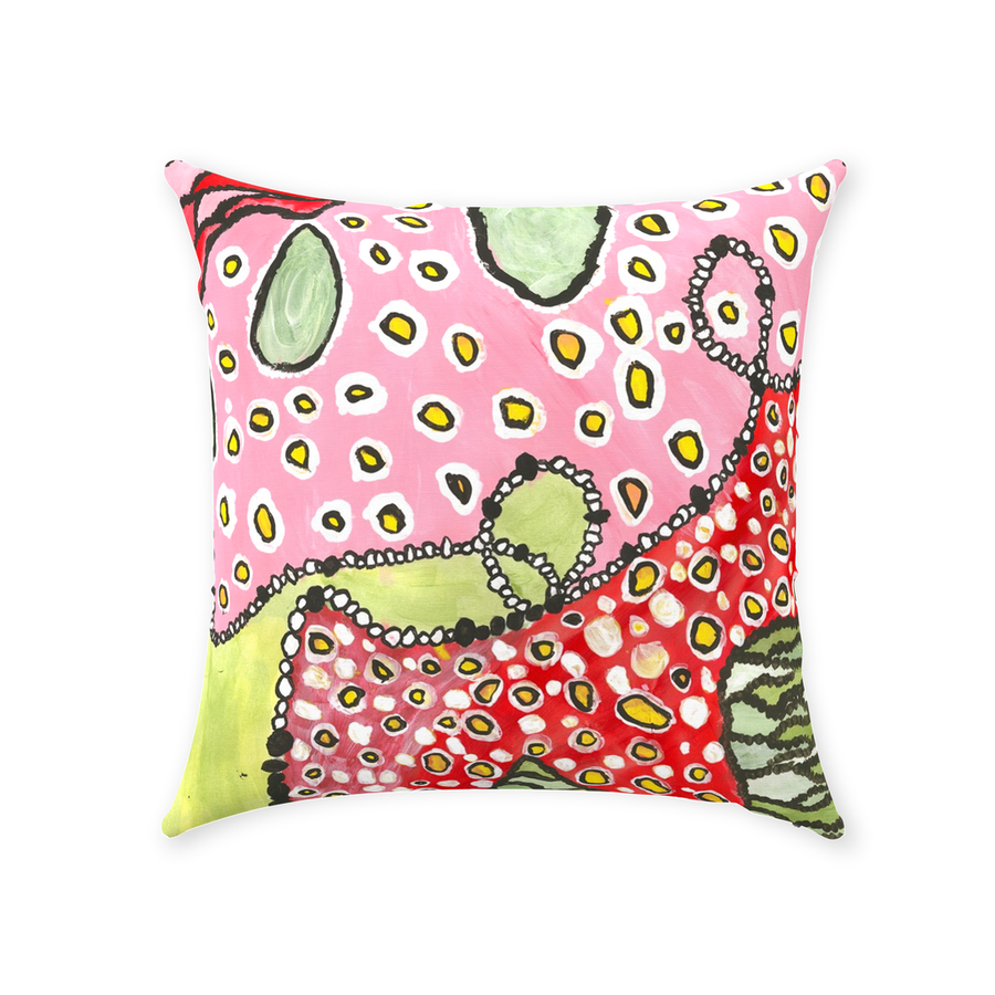 Pink & Green Abstract Throw Pillow