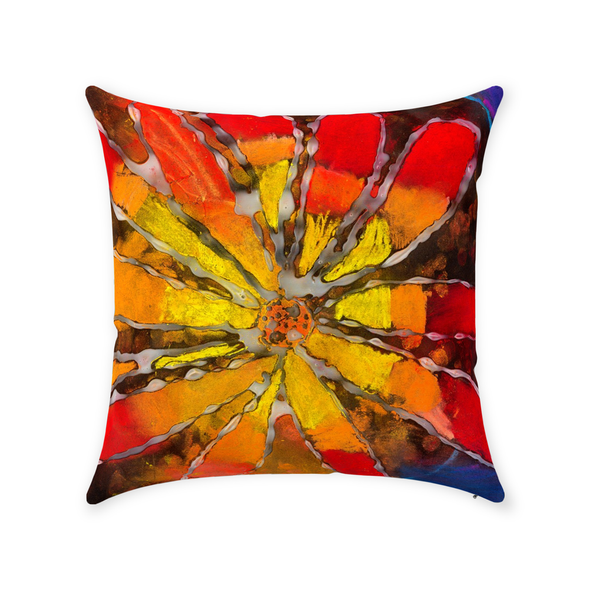Multicolor Flower Throw Pillow